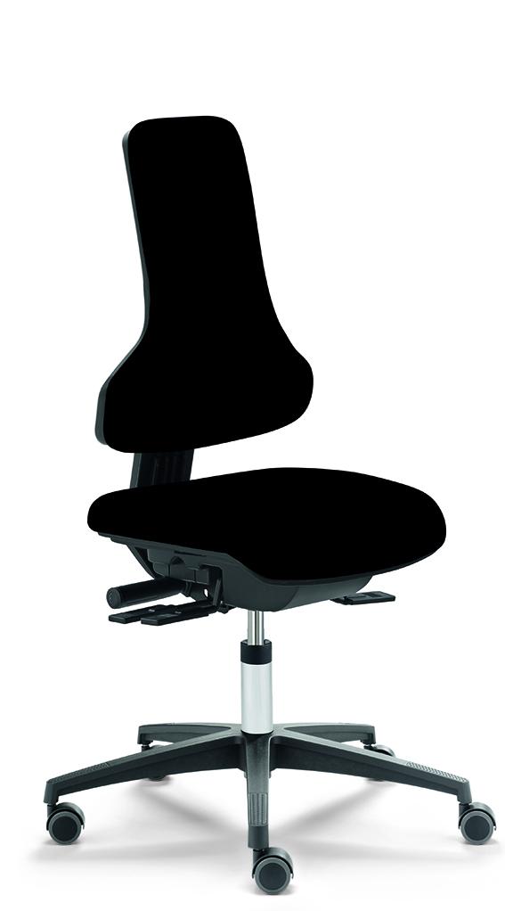 RF-Ergo Arbeitsstuhl mit Sitzneigung 12°, Ausführung mit blockierenden Rollen und schwarzem Kunstleder
