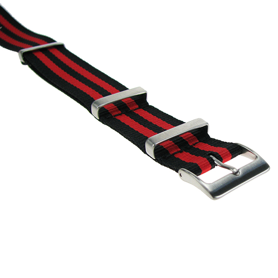 Nylonband schwarz-rot gestreift, 20mm