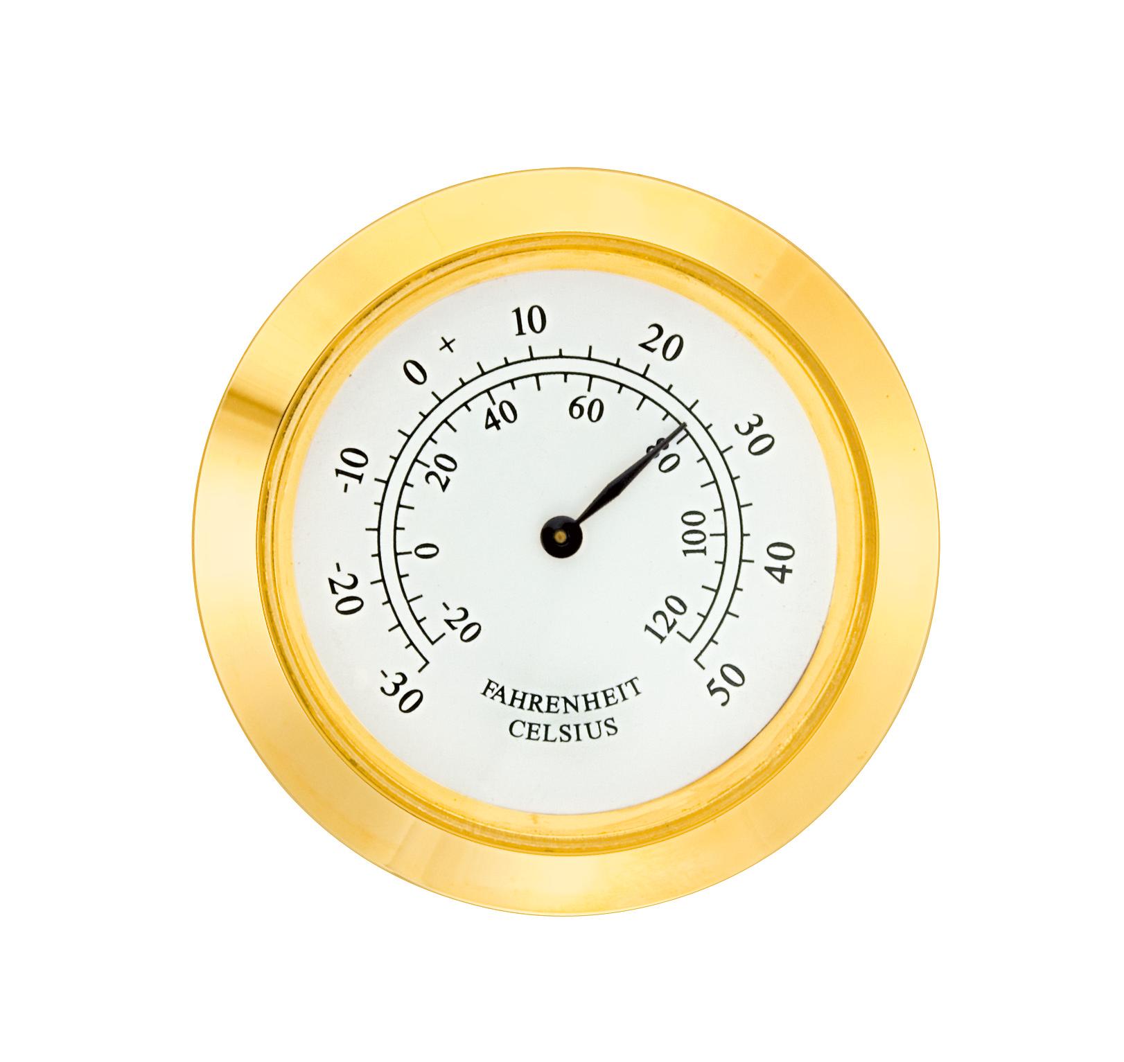 Mini-Einsteckwerk Import Trommel Ø 37,5mm, Lünette Ø 40mm gelb, Zifferblatt weiß-antik, Thermometer