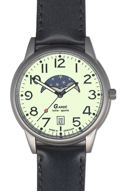 Uhren Manufaktur Ruhla - Mondphase-Uhr - Leuchtzifferblatt - Lederband