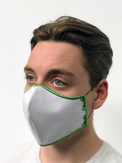 Mond- en neusmasker HappyCurve met individueel gestikt logo, natuurlijk wit