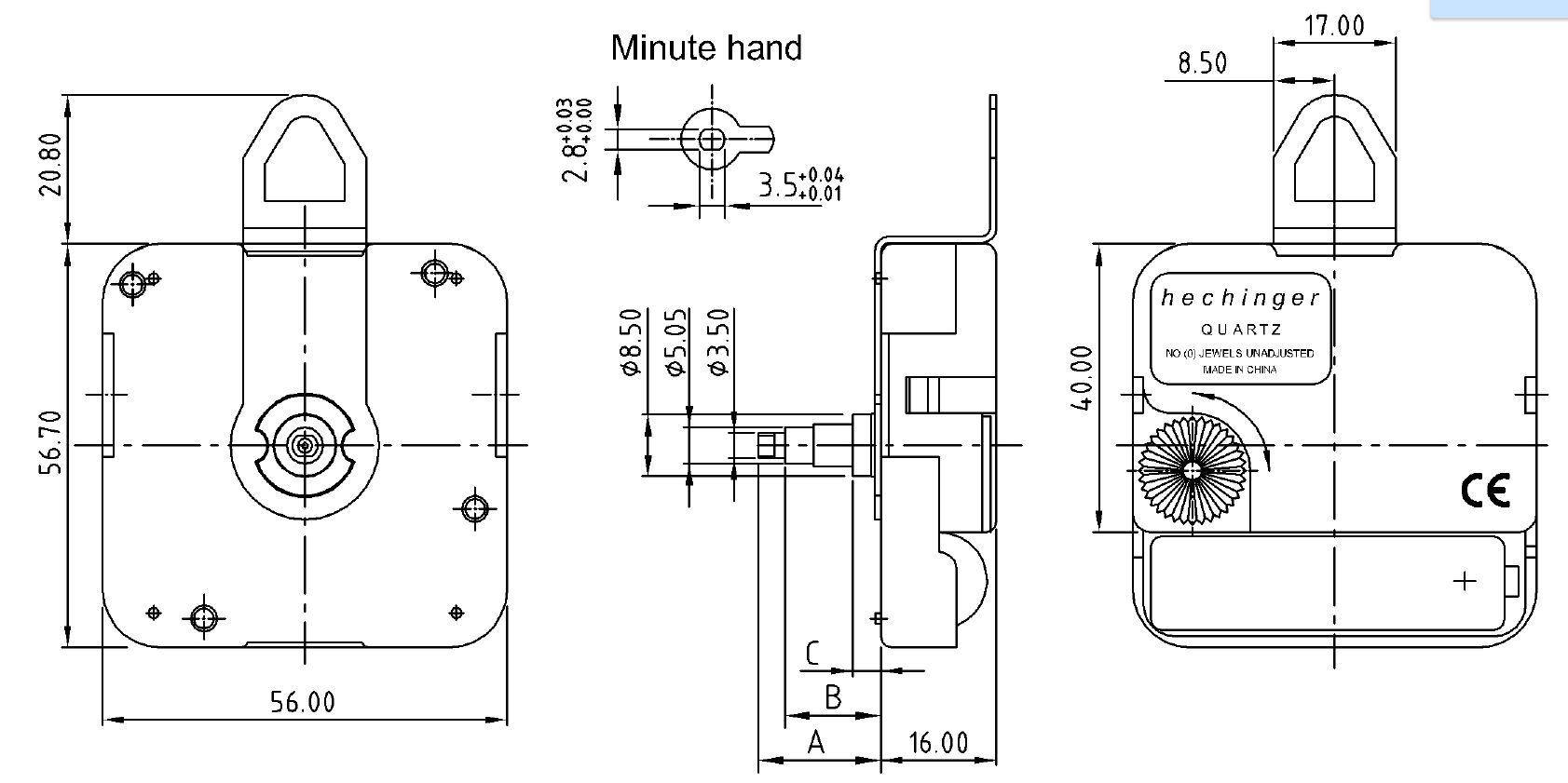 Kwarts uurwerk Hechinger WX, wwl 14,5mm