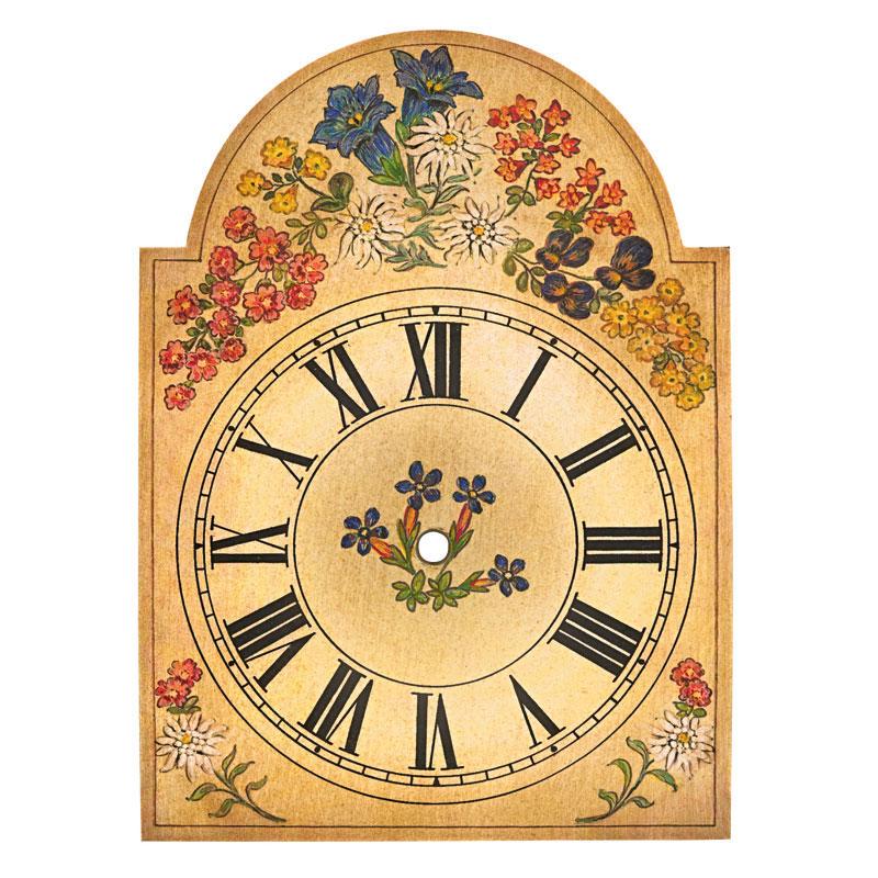 Uhrschild mit Enzian-Dekor 250x345mm