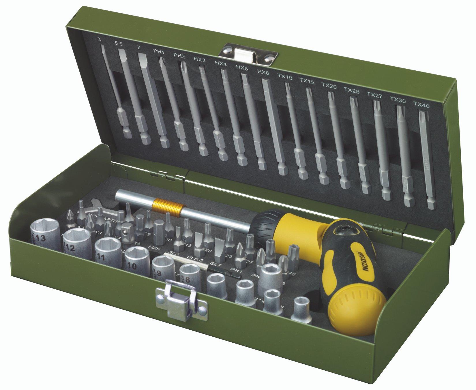 PROXXON Schroevendraaier set met ratelschroevendraaier met instelbare hoek en magneethouder, 54-delig