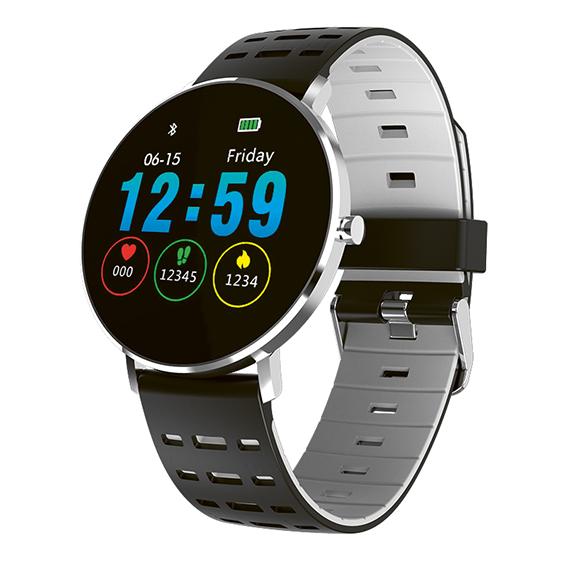 Fitness Tracker mit grau-schwarzem Silikonband