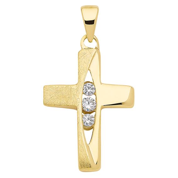 Kreuz Gold 333/GG mattiert/poliert