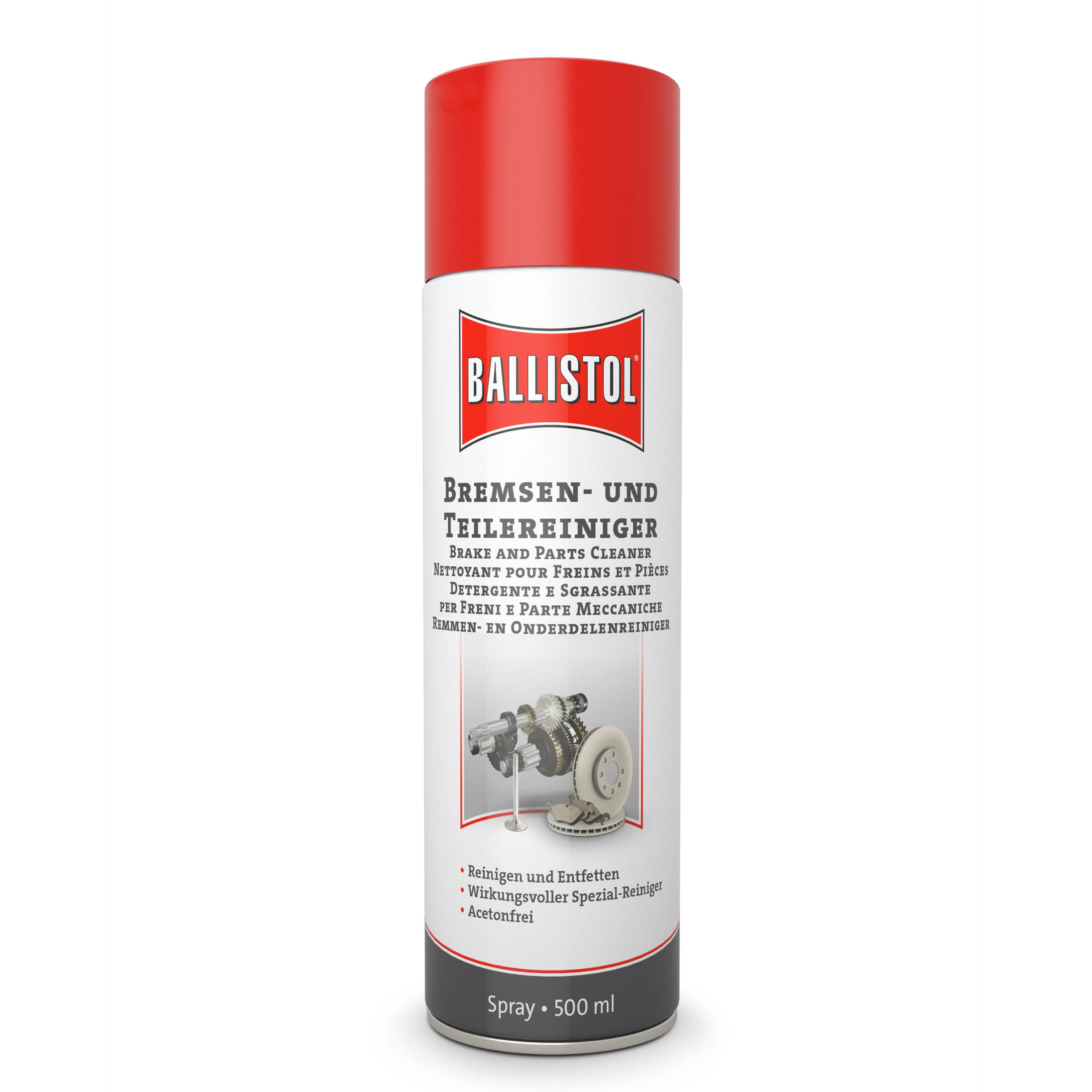 BALLISTOL rem- en onderdelenreiniger, 500 ml - verwijdert olie, vet, lijmresten en nog veel meer