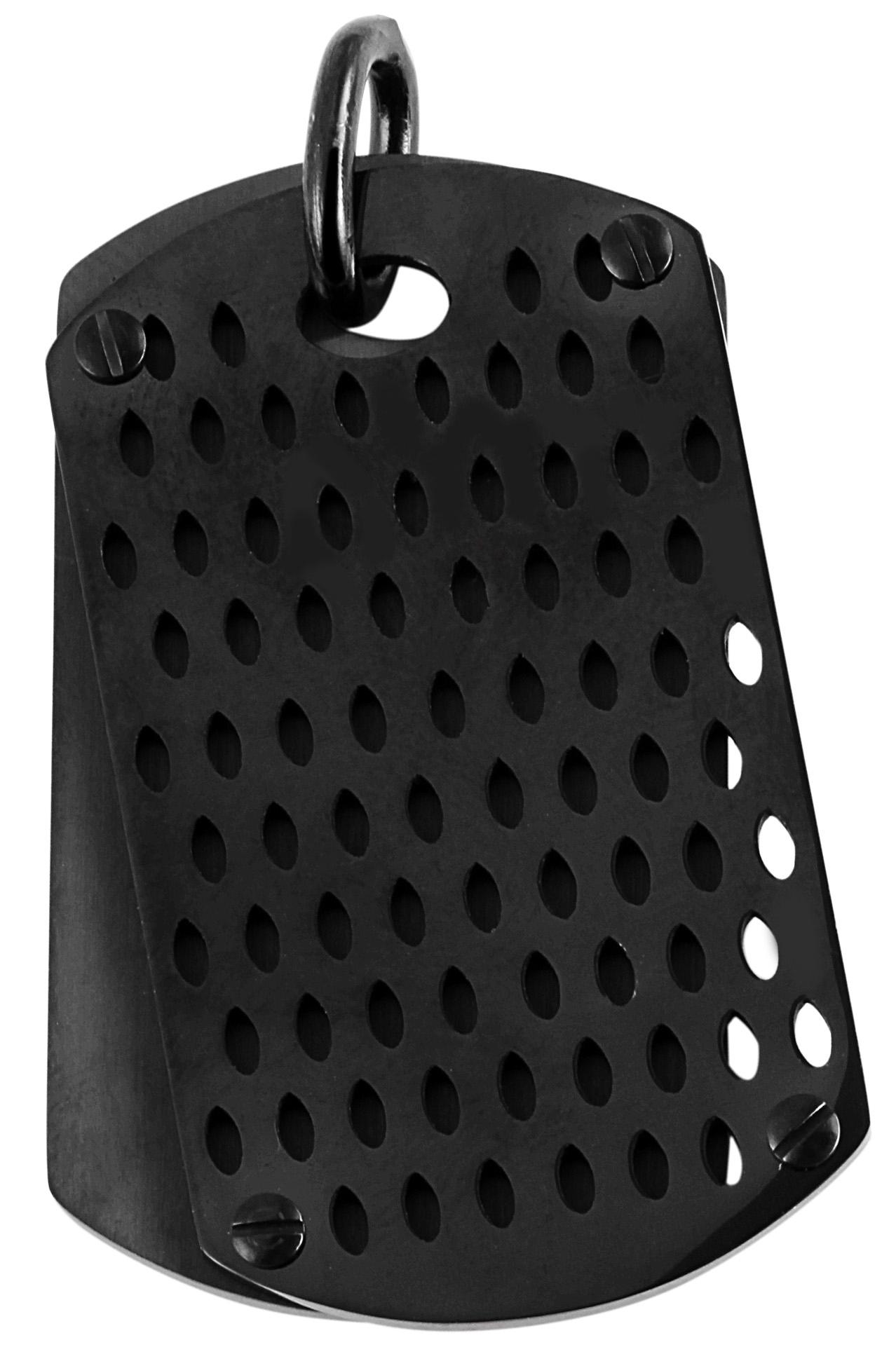 hanger gravure edelstaal zwart 26x45mm