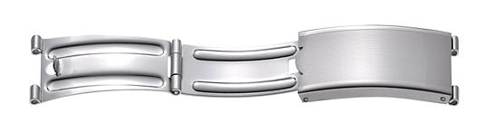 Faltschließe Edelstahl 12mm, Ansatz 6mm Stahl satiniert