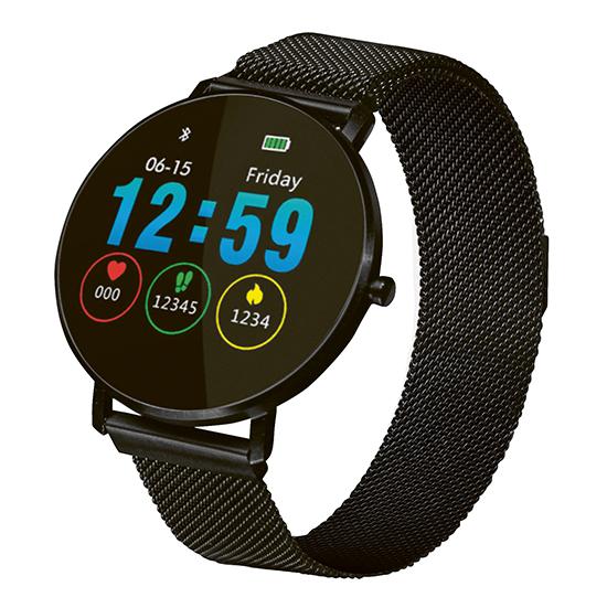 Fitness Tracker mit schwarzem Mesharmband mit Magnetverschluss