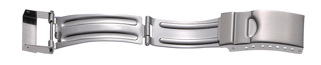 Faltschließe Edelstahl 14mm, Ansatz 8mm Stahl satiniert mit Sicherheitsbügel