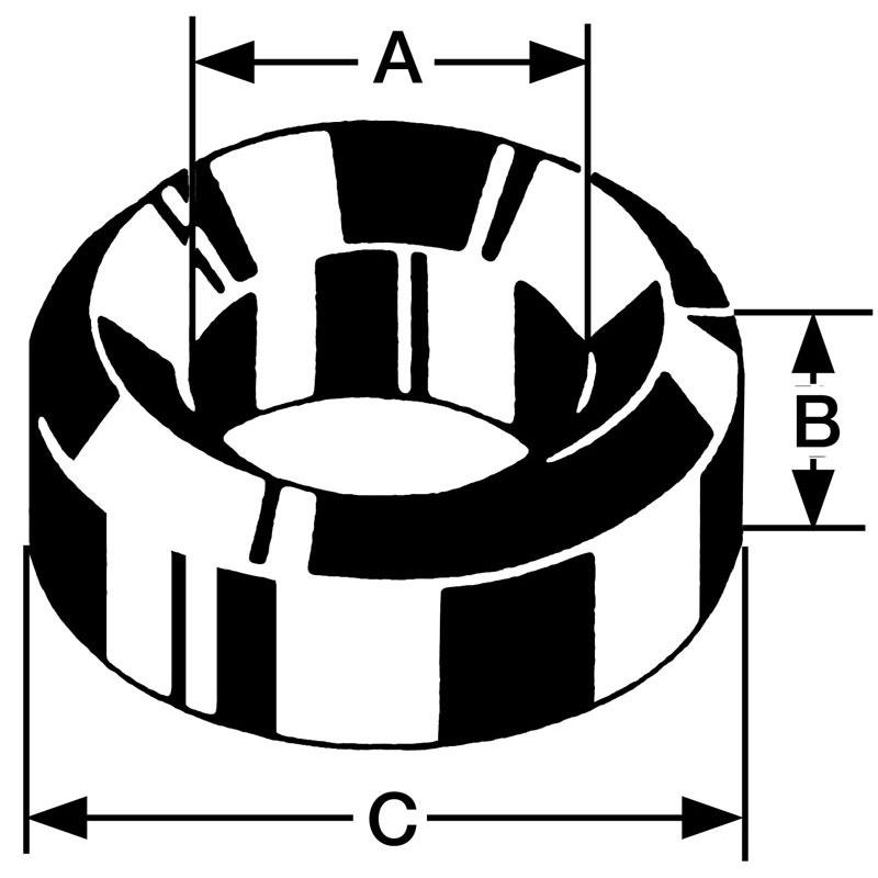 Bergeon-Einpresslager Messing B01, Bohrung Ø 0,40 Außen Ø 2,00 Höhe 1,50mm, Inhalt 10,00 Stück