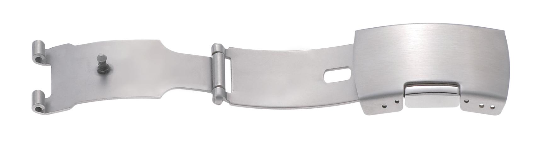 Faltschließe Edelstahl 14mm, Ansatz 7mm Stahl satiniert mit 1 Drücker
