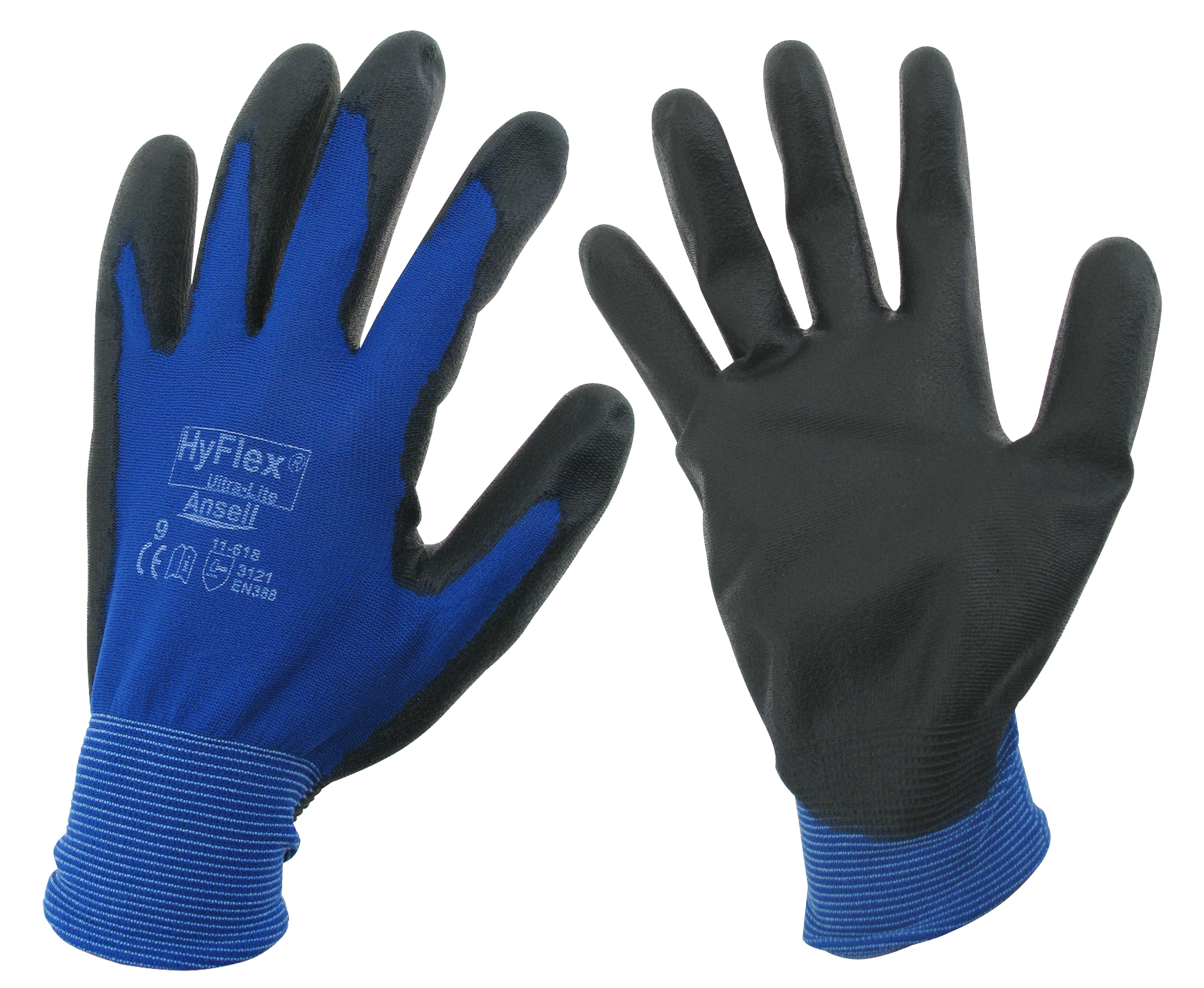 werkhandschoenen mt. 9, PU gecoat, blauw/zwart