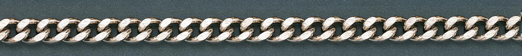 Zakhorlogeketting Gourmet geslepen, Nieuw zilver 35cm