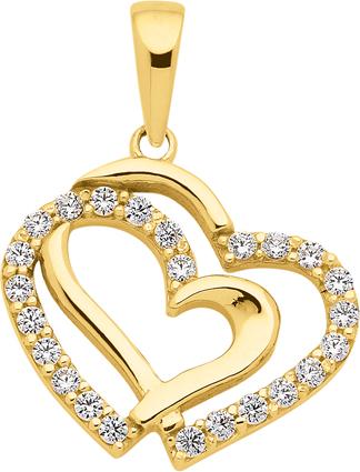 Anhänger Gold 333/GG Herz, Zirkonia
