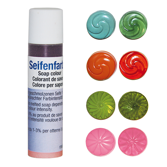Seifenfarben transparent - 4er-Set - Orange, olivgrün, mint, rosé