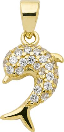 Anhänger Gold 333/GG Delphin, Zirkonia