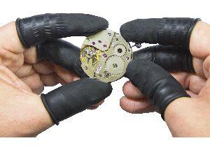 vingerbeschermers latex zwart ESD antistatisch ongepoederd mt. L Bergeon