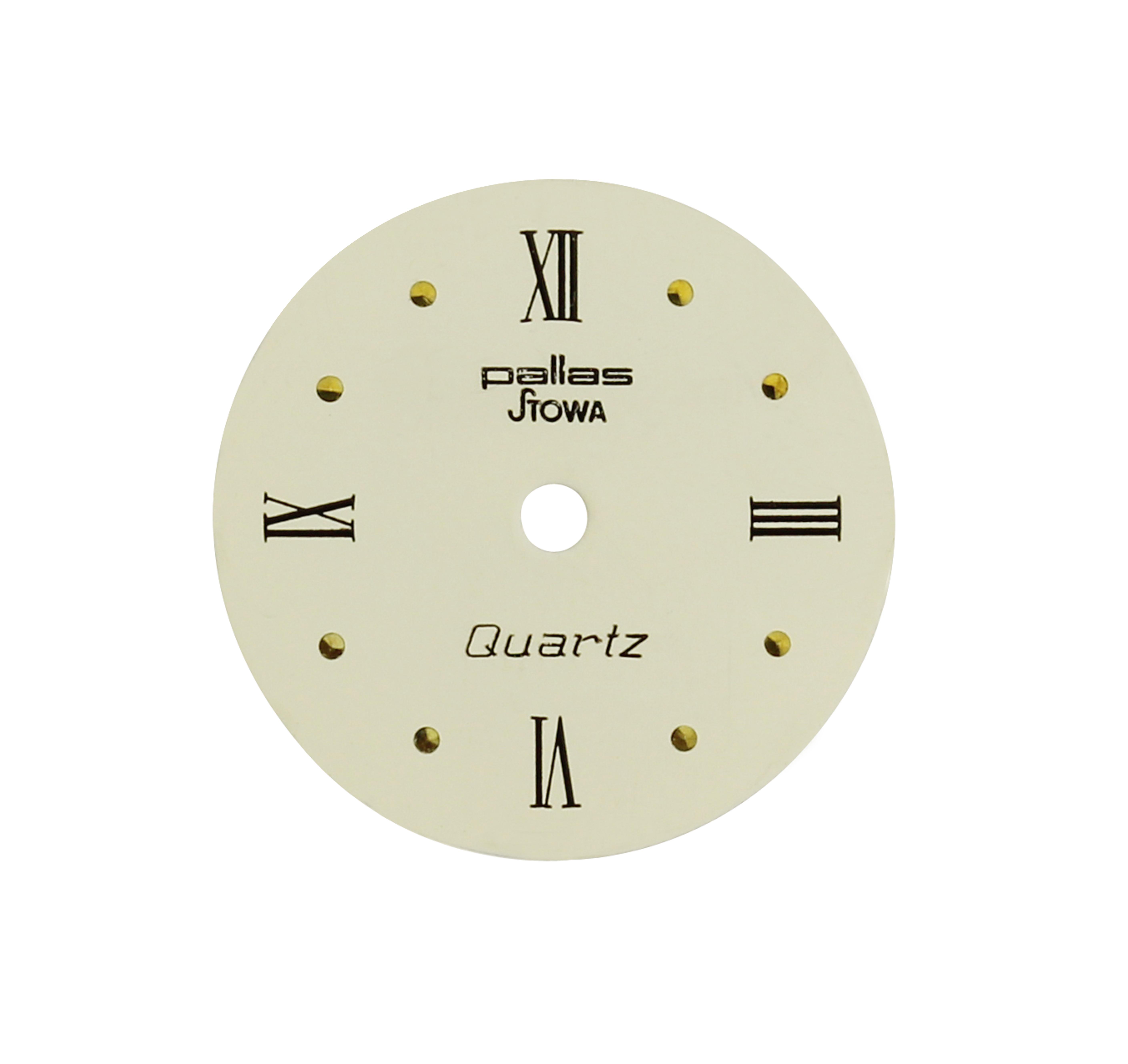 Wijzerplaat AS 1677 Ø 16 mm beige Rom. cijfers/punten