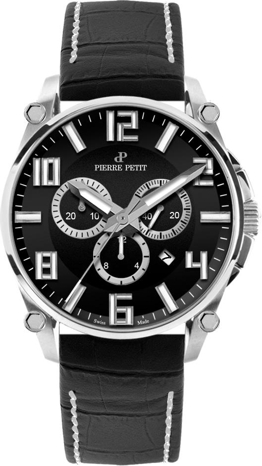 Pierre Petit Chronograaf Le Mans zwart/zilver - Swiss Made